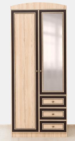Дисней шкаф 2Д3Ш с зеркалом, Дуб свтелый, Мебель Сервис