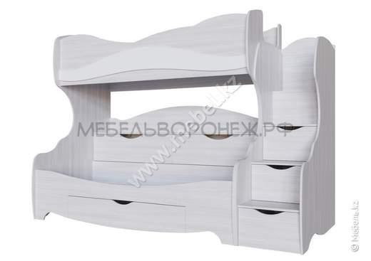 Акварель 1, Кровать двухярусная, б/м (0,8х2,0), Ясень анкор светлый/белая матовая/Цветы,  СВ Мебель