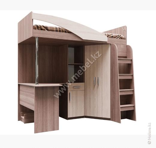 Город, Кровать двухъярусная (комбинированая) 0,9х2,0 б/м, Ясень Шимо темный/светлый, СВ Мебель