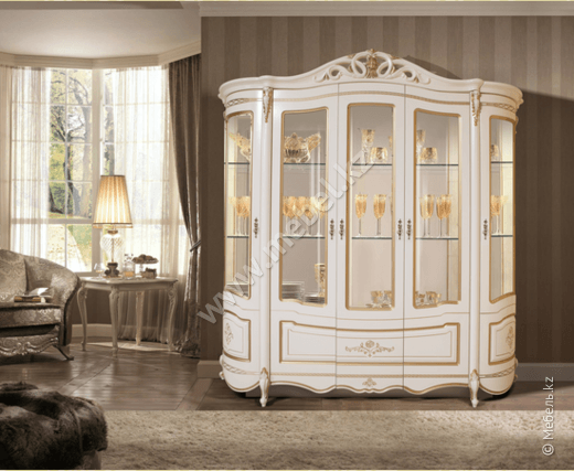 Аллегро витрина 5Д белый-золото (Слониммебель)